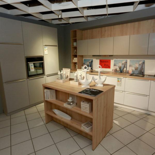 Schüller Küche Pura Weiß Steingrau Resopal Angebot (2)